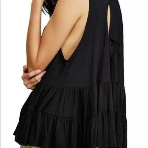 Free People tiered open tie back swing  tunic top